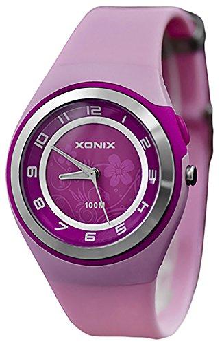 Bezaubernde Damen XONIX Armbanduhr WR100m nickelfrei Licht Blumenmuster PI 4