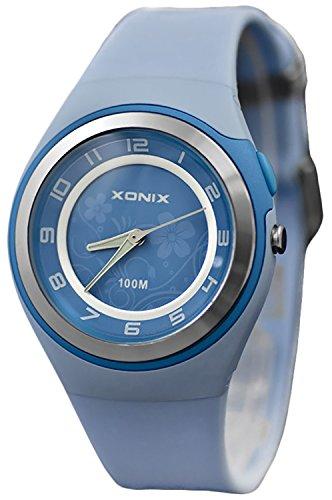 Bezaubernde Damen XONIX Armbanduhr WR100m nickelfrei Licht Blumenmuster PI 8