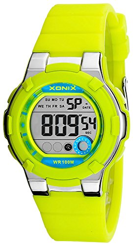 Digitale Damen und Kinder XONIX Armbanduhr WR100m Alarm Stoppuhr Timer XDFKB 3
