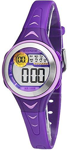 Bunte digitale XONIX Armbanduhr fuer Damen und Kinder WR100m nickelfrei XDU53K 3