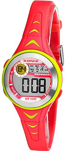 Bunte digitale XONIX Armbanduhr fuer Damen und Kinder WR100m nickelfrei XDU53K 5