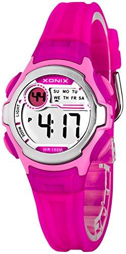Digitale XONIX Armbanduhr fuer Damen Kinder WR100m Datum Stoppuhr Licht B734HJ99 4