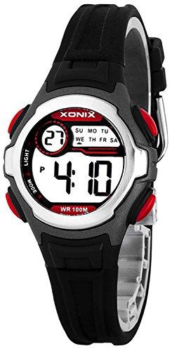 Digitale XONIX Armbanduhr fuer Damen Kinder WR100m Datum Stoppuhr Licht B734HJ99 7