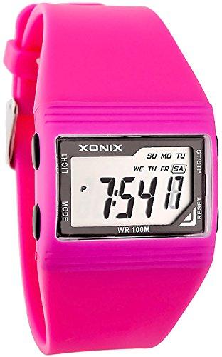 Digitale XONIX Armbanduhr Stoppuhr Alarm Licht WR100m fuer Damen und Maedchen SH 6