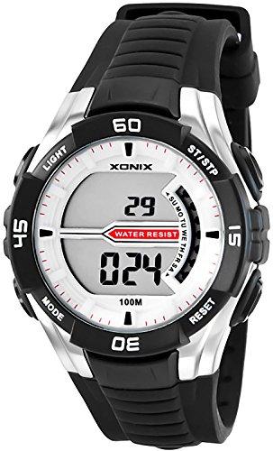 Digitale XONIX Armbanduhr fuer Herren und Teenager WR100m Stoppuhr Licht Alarm XJK0 1
