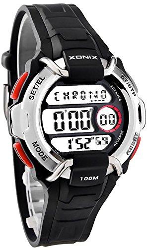 Digitale XONIX Armbanduhr Weltzeitangabe 8xAlarm WR100m Herren Teenager OC 1