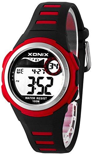 Elektronische XONIX Armbanduhr WR100m Timer Alarm fuer Damen und Kinder F56DC67Q 6