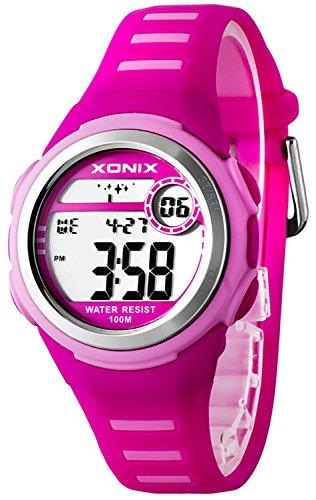 Elektronische XONIX Armbanduhr WR100m Timer Alarm fuer Damen und Kinder F56DC67Q 2