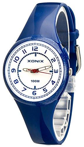 Kleine XONIX Armbanduhr fuer Maedchen und Jungen mit Hintergrundlicht WR100m PM 7