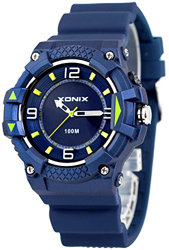 Moderne analoge XONIX Armbanduhr fuer Ihn mit Licht wasserdicht bis 100m XA7NCH21 3