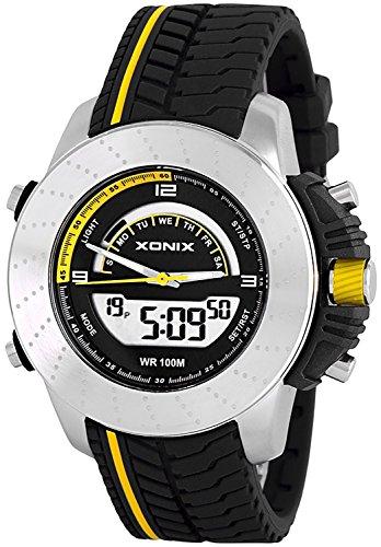 Neue Multifunktions XONIX Armbanduhr fuer Herren und Teenager Wr100m Farbe schwarz gelb