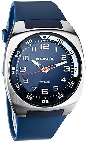 Schicke analoge unisex XONIX Armbanduhr mit grossem Ziffernblatt WR100m nickelfrei US 6