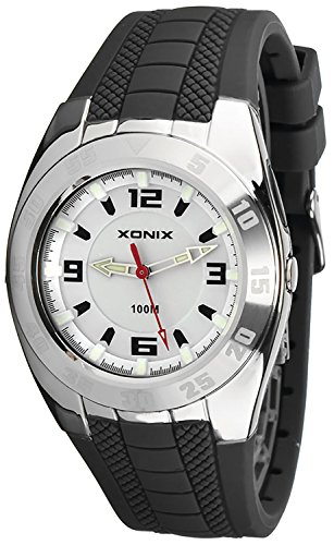 Schlichte analoge Herren und Teenager XONIX Armbanduhr mit Licht WR100m X45QZN 2