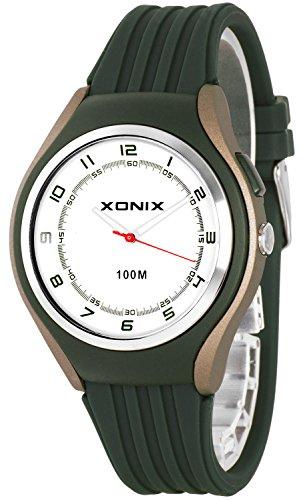 Schlichte XONIX 12h Armbanduhr fuer Herren Teenager mit Licht wasserdicht bis 100m XA846FF 1