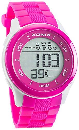 Sportlich XONIX Armbanduhr PINK fuer Damen Teeanger WR100m nickelfrei 0VG 1