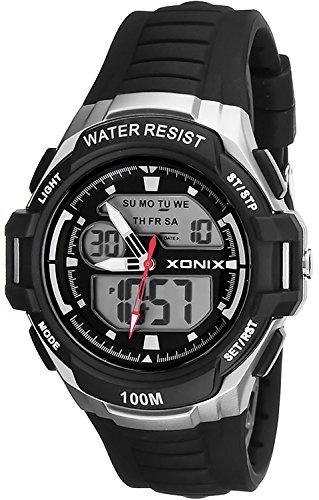 Sportliche Armbanduhr XONIX fuer Herren und Jungen viele Funktionen WR100m Armbanduhrenfarbe schwarz grau