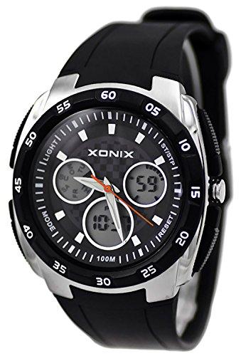 Sportliche XONIX Armbanduhr digital analog WR100m fuer Herren und Jungen XMD 1