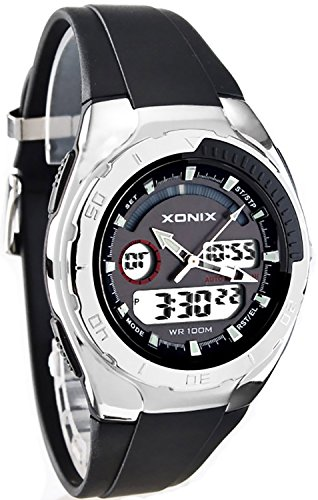 Sportliche XONIX Armbanduhr fuer Herren und Jungen WR100m RD