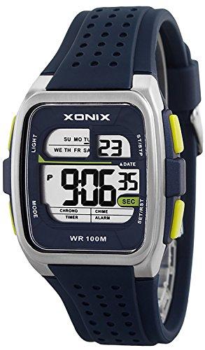 Eckige Sportliche XONIX Armbanduhr fuer Herren und Teenager wasserdicht 100m Alarm Timer Stoppuhr XDY83J 7