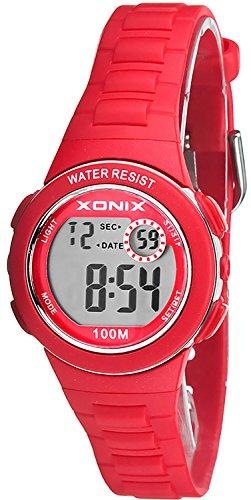 Kleine sportliche XONIX Armbanduhr fuer Kinder und Damen mit verschiedenen Funktionen Farbe rot