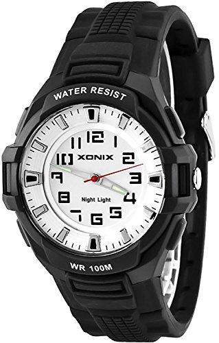 Sportliche XONIX 12 Stunden Ziffernblatt Armbanduhr fuer Herren Licht WR100m XOQ 5