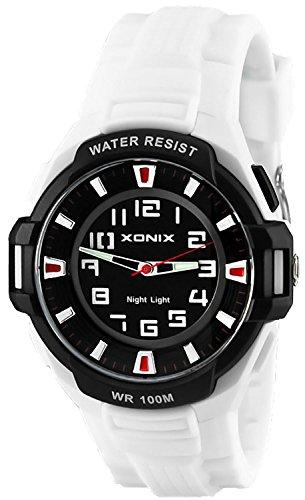 Sportliche XONIX 12 Stunden Ziffernblatt Armbanduhr fuer Herren Licht WR100m XOQ 6