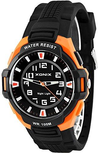 Sportliche XONIX 12 Stunden Ziffernblatt Armbanduhr fuer Herren Licht WR100m XOQ 3