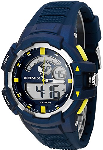 Herren Teenager Multifunktions XONIX Armbanduhr digial analog WR100m XMWM 4