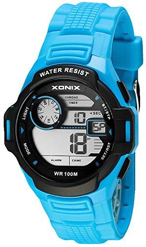 Herren und Teenager XONIX Armbanduhr WR100m Stoppuhr mit Zwischenzeiten Alarm Datum Timer XD0JR 7