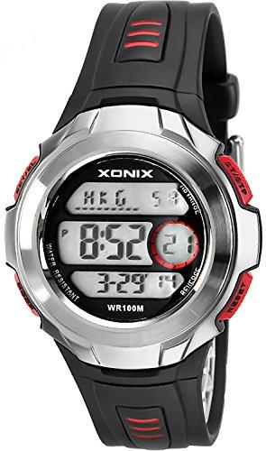 Herren Teenager XONIX Armbanduhr mit Weltzeitangabe WR100m nickelfrei XTC 2