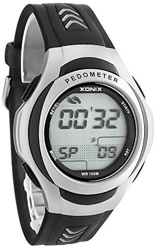 Unisex Trainings XONIX Armbanduhr mit Schrittzaehler Kalorienzaehler Speicher WR100m PQG 1