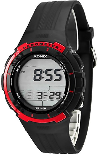 Trainings XONIX Armbanduhr Unisex Schrittzaehler Kalorienzaehler Speicher WR100m PSG 2