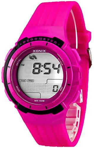 Trainings XONIX Armbanduhr Unisex Schrittzaehler Kalorienzaehler Speicher WR100m PSG 4