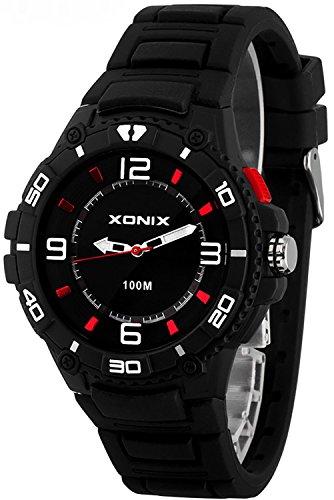 Unisex 12 Stunden Ziffernblatt XONIX Armbanduhr mit Licht WR100m Farbe schwarz weiss