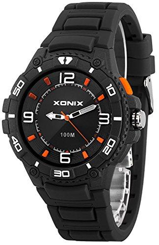 Unisex 12 Stunden Ziffernblatt XONIX Armbanduhr mit Licht WR100m Farbe grau