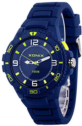 Unisex 12 Stunden Ziffernblatt XONIX Armbanduhr mit Licht WR100m Farbe granatowy