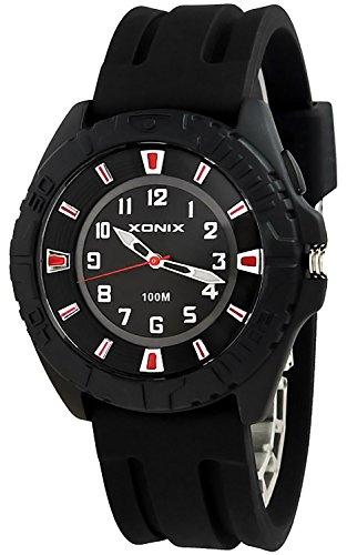 Grosse Unisex XONIX Armbanduhr mit beleuchtetem Ziffernblatt WR100m JQ 1