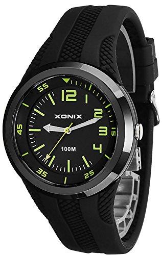 Unisex XONIX 12 Stunden Ziffernblatt Armbanduhr WR100m nickelfrei XDH11U 3