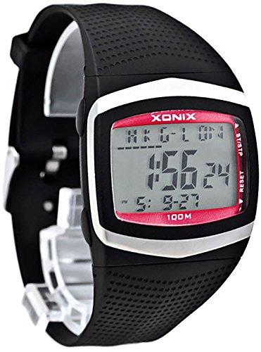 XONIX Armbanduhr fuer Herren WR100m 8xAlarm Weltzeitangabe Stoppuhr Timer FG 3