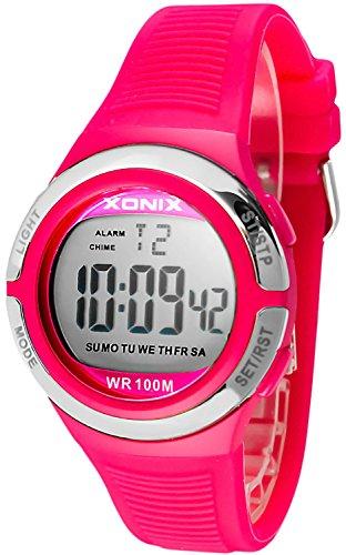 Laessige XONIX Armbanduhr fuer Damen und Teenager mit Licht Alarm Stoppuhr Timer wasserdicht 100m XOJD 3