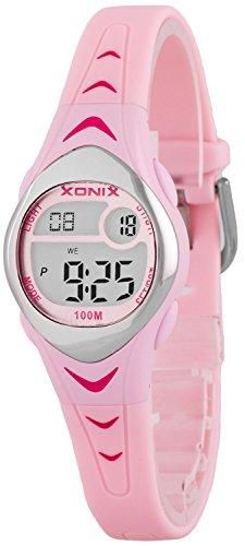 Zauberhafte kleine XONIX Armbanduhr fuer Maedchen mit Alarm Stoppuhr Timer WR100m LE 1