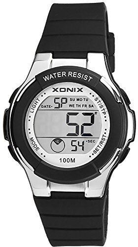 Zierliche digitale XONIX Armbanduhr fuer Damen und Kinder Timer Alarm Stoppuhr XDR98K 4 schwarz