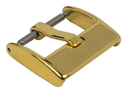 Dornschliesse Edelstahl Schliesse Breitdornschliesse IP gelbgoldfarben fuer Lederarmbaender 27510G Anstoss 18 mm