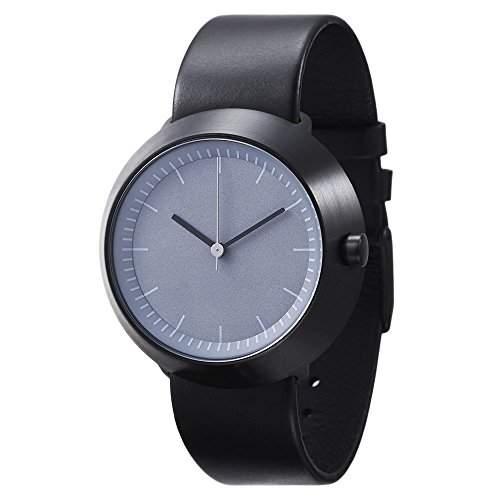 Normal Timepieces - Fuji - Edelstahl Gebuerstet IP Schwarz Grau Leder Unisex Uhren