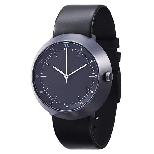 Normal Timepieces - Fuji - Edelstahl Gebuerstet IP Grau Leder Schwarz Unisex Uhren
