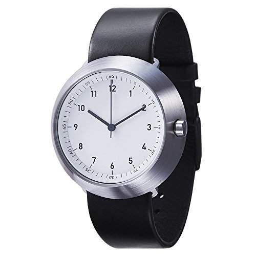 Normal Timepieces - Fuji - Edelstahl Gebuerstet Weiss Leder Schwarz Unisex Uhren