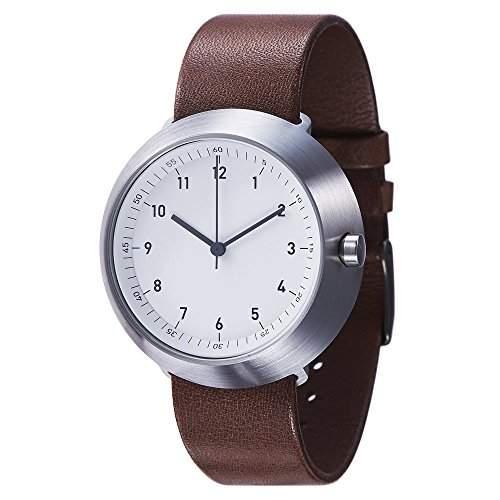 Normal Timepieces - Fuji - Edelstahl Gebuerstet Weiss Leder Braun Unisex Uhren