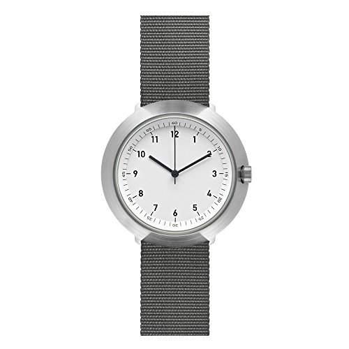 Normal Timepieces - Fuji - Edelstahl Gebuerstet Weiss Nylon Grau Unisex Uhren