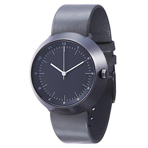 Normal Timepieces Fuji Edelstahl Gebuerstet IP Grau Schwarz Leder Uhren Herren