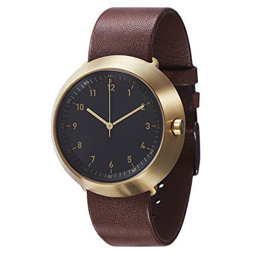 Normal Timepieces Fuji Edelstahl Gebuerstet IP Gold Leder Schwarz Braun